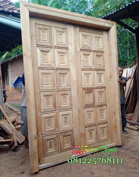 Model Pintu Minimalis Dari Kayu Jati 2 daun kupu tarung