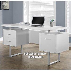 Meja Kantor Minimalis Modern Kota Terbaru Kayu Solid Finishing Duco Putih