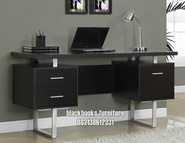 Meja Kantor Minimalis Modern Terbaru Kayu Solid Warna Finishing Hitam