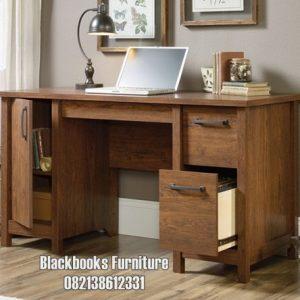 Meja Staff Karyawan Kantor Jati Model Modern Minimalis