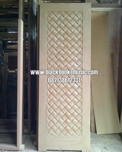 Pintu Anyaman Tikar Motif Diagonal Kayu Jati