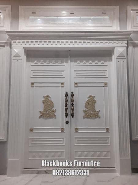 Pintu Kupu Tarung Dua Daun Mewah Ukuran Custom Kayu Jati Jepara