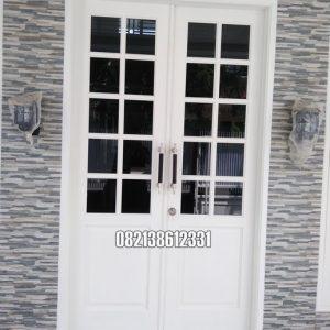 Pintu Utama Modern Model Kupu Tarung Panil Kaca Kayu Jati