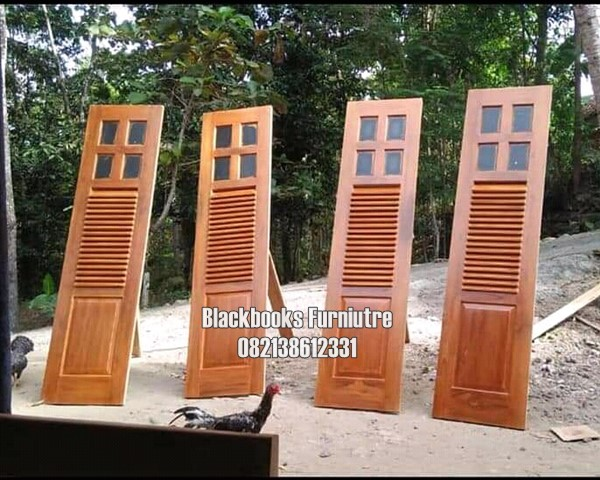 Daun Pintu Garasi Model Krepyak Custom Kayu Jati Jepara
